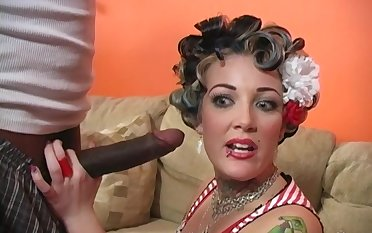 Blonde Candy Monroe adores jumping on her friend's black penis
