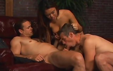 Vest-pocket-sized Asian Babe Fucks These Two Studs - Unfading
