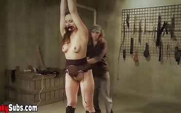 Cute darkhaired 18 years old having a chief time BDSM experience