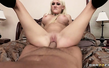 Fit and perky blonde MILF rides a bareback cock down to the balls