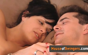 Swinger babes are scissoring with the addition of kissing each other!