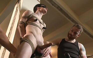 Filial twink endures two males for a wild BDSM anal