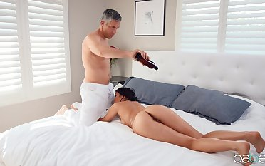 Hot bore Kendra Spade massaged and fucked by the big dick guy