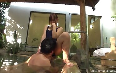 Excellent Japanese changeless sex in the back yard Jacuzzi