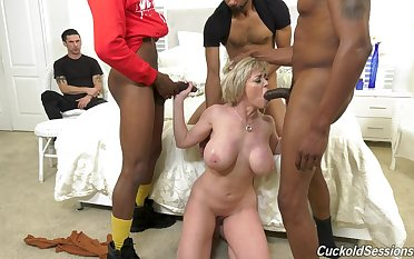 Mature feels black men fucking her tiny holes in sprightly home cuckold