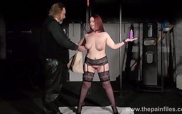 Subjection slut in black stockings Kitty holds candles at near hardcore treatment