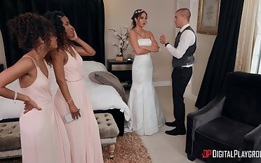 Demi Sutra and Desiree Dulce fucked by one lucky guy on the verge