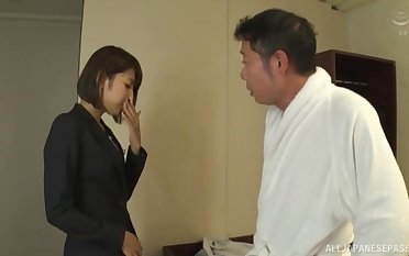 Charming secretary Harusaki Ryou takes a large dick be advisable for her boss