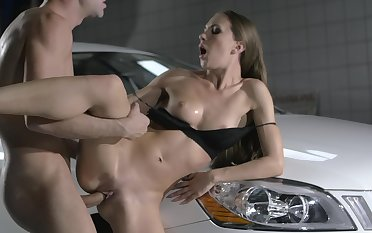 Slim beauty fucks standing and tries new positions