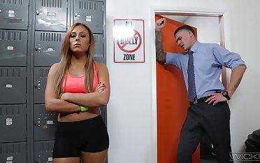 Red haired student Gianna Nicole is fucked hard by hot coach about his office