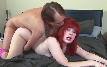 Amateur redhead receives a big flannel to suit her deep sexual desires