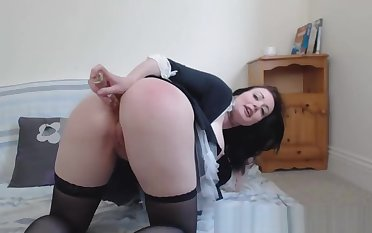 French maid in the matter of big boobs JOI and masturbation