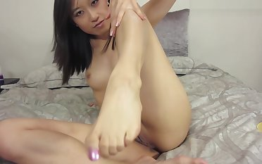 Asian Girl Watches Roommate Jerk Off In Chum around with annoy Bathro
