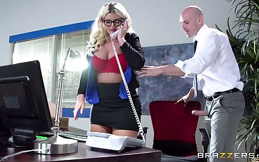 Boss lady Julie Cash fucked in rub-down the office by the brush male assistant
