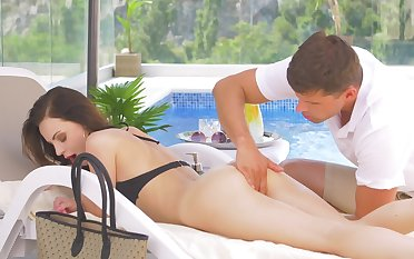 Fortifying massage increased by poolside sex for scrumptious Victoria Traveler