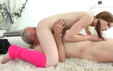 Rabelaisian pigtailed spread out with small tits sucks older man's cock in 69 insincerity