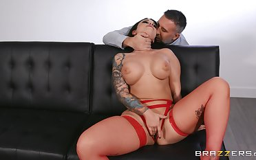 Erotic fantasy be expeditious for the busty brunette with another man