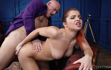Old vs young porn video with shaved pussy hottie Renata Satan