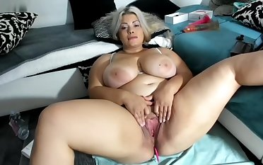 Curvy chubby Blonde BBW babe state of affairs
