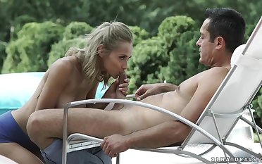 Veronica Leal is bonking the new gardener in the finished with the day, on the sun bed