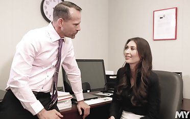 Office girl Angelina Diamanti works hard to get compact at her job