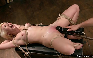 Gagged bound blond hair babe gets toyed
