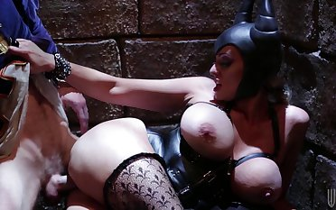 Kinky cosplay fucking in be passed on dungeon with Stormy Daniels in leather