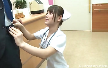 Asian nurse Momozono Mirai pleases a patient by riding his dick