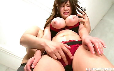 Busty Kimino Natsu fucks with him while her tits bounce up and down