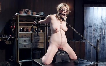 Blonde bird Winnie Rider with nice on the level tits tied up plus tortured