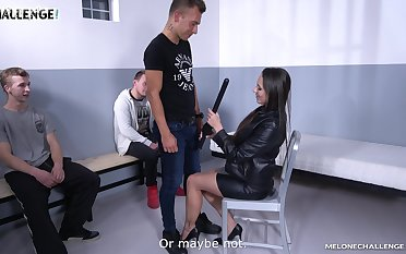 Super blue Czech cop Mea Melone is screwing three amateur guys