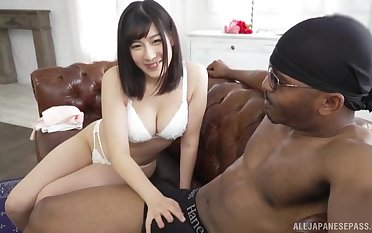 Cum eating Japanese whore Otomi Rina fucked by a large black dick