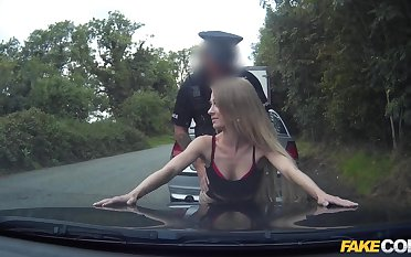 Skinny babe fucked in the pussy by a horny cop