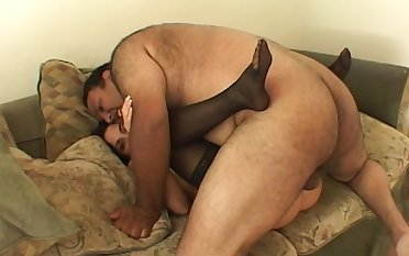 Fat alms-man fucks a hottie relating to the first place cam and cums relating to her