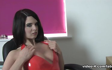 Stacey M in all directions Orange Dress and Stockings - LatexHeavenVideo