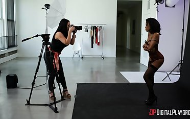 Erotic photo shooting with lesbians Alina Lopez increased by Demi Sutra