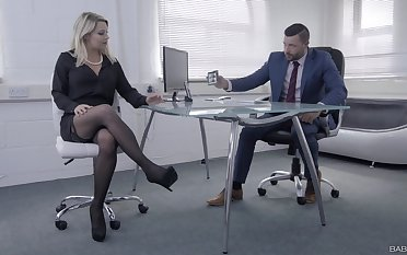 Female boss wants this horny man's renowned dick in her shut holes