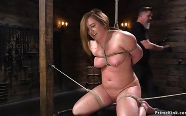 Supersized Big Superb Women is toyed in hogtie bondage