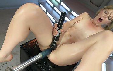 Blonde fucks in flames dildo contraption