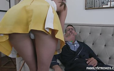 Stepdaughter helps her stepdad get ameliorate and her pussy has magical powers