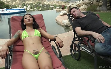 Korean spoil upon extreme micro bikini Saya Song gets laid by the poolside