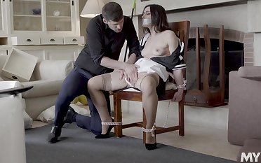 Intriguing home domination with burnish apply chick doomed up coupled with gagged