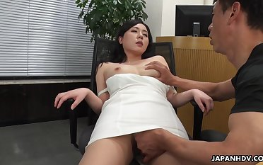 A beautiful HR clerk interviews a man then gives him full entr