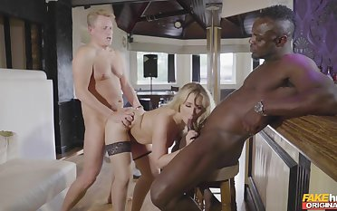 A glorious home threesome for the tight wed on twosome fat dicks