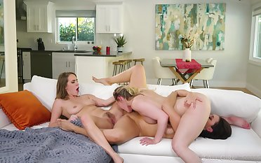 Lots of pussy lapping with Cadence Lux, Bella Rolland and Kenzie Madison