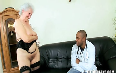 Granny Marimar with big ass riding big black cock