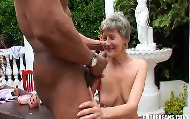 Granny Kitty smashed with big black cock hardcore