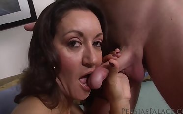Adult brunette with chunky boobs likes the way her lover is eating her pussy, before fucking her