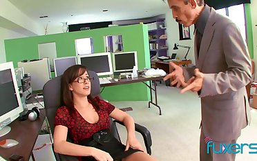 Busty secretary teases hammer away boss and gets hammer away sex she wants