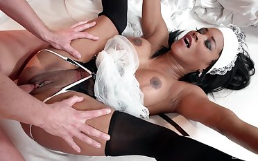 Sombre maid pleases master with her very tight cunt